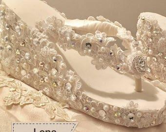 "WEDDING Flip Flop WEDGES Bridal Lace Ivory White 3.5"" Destination Pearl Crystal Alencon French Lace Swarovski Crystal 1 Week SALE!"