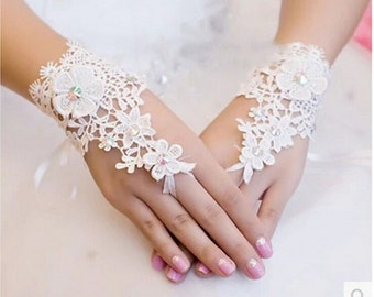 Wedding Fingerless Gloves BridalcWhite VENETIAN LACE Corsage Custom Colors Made to Order On SALE Now!