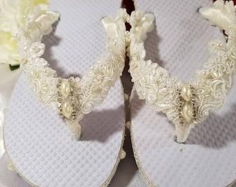 WEDDING Flip Flops Thong Sandal Flat Shoe Bridal Imported Alencon FRENCH Lace Ivory White Beach Destination Pearl Swarivski Crystal On SALE!