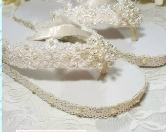 Flip Flop WEDDING Bridal IVORY Thong Sandal Flat Shoe Imported Alencon French Lace Ivory Beach Destination Pearl Swarivski Crystal On SALE