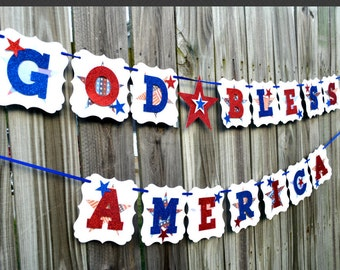July 4th Banner, July 4 Banner, Patriotic Banner, July 4 Burlap Banner, Summer Banner, Red White Blue, 4th of July Bunting,God Bless America