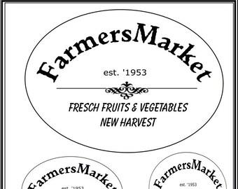 Farmers Market Label für Etiketten, T-Shits, Stoffe, Kissen usw., Digitaler Download