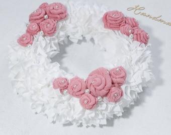 Wreath door wreath decoration 'Roses' handmade single piece