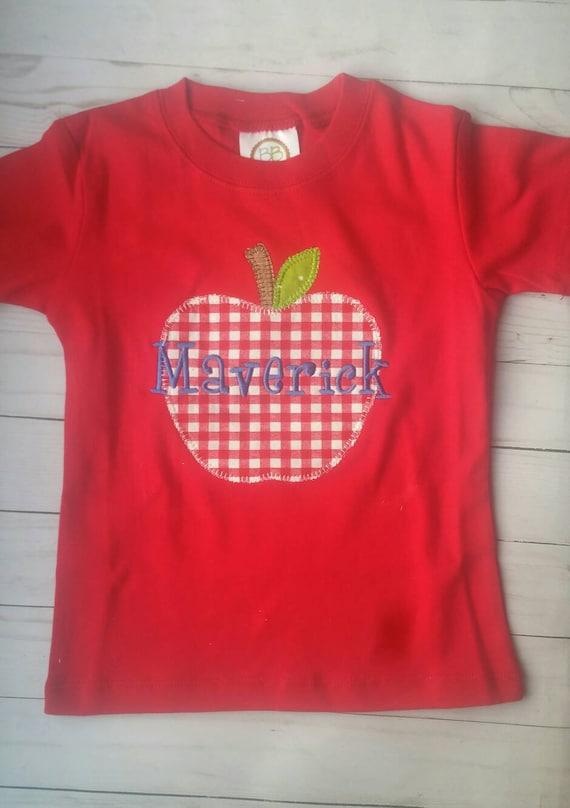 Apple Shirt Embroidery Shirts Boys Apple Shirt School Etsy