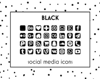 Social Media Icons Black Button Website Blog Icon Resume Business Card