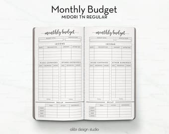 standard tn monthly budget budget planner travelers notebook income tracker expense tracker tn inserts bullet journal tracker