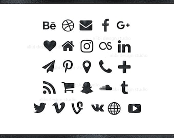 Social Media Icons Black Foil Button Website Blog Resume Business Card Icon