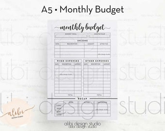 a6 tn monthly budget financial planner for travelers etsy