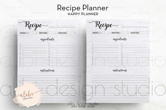 This is a graphic of Happy Planner Recipe Printable with lined vertical