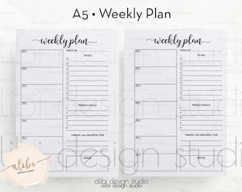 A5, Weekly Planner, A5 Planner Inserts, Daily Schedule, A5 Planner, To Do List, Daily Planner, Printable Planner, Meal Planner, A5 Filofax
