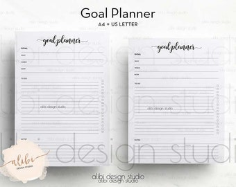 Goal Planner, Goal Tracker, Printable Planner, A4 Inserts, Resolutions, Project Planner, A4 Printable, Goal Setting, Goal Organizer