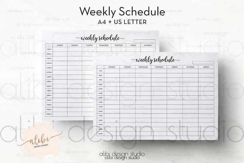 photo regarding Hourly Calendar Printable named Weekly Agenda, A4 and Letter Printable, Hourly Planner / Weekly Planner/ Weekly Calendar Printable