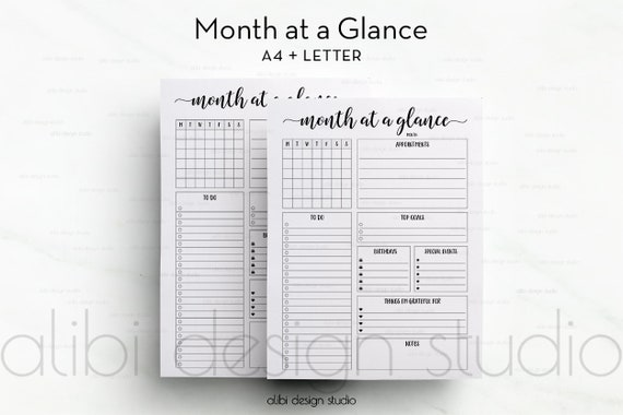 month at a glance a4 printable monthly planner daily etsy