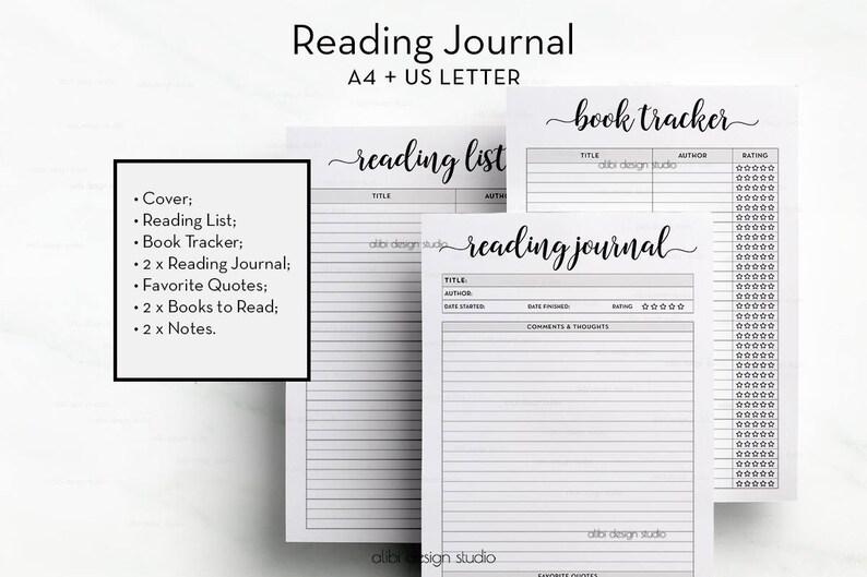 graphic regarding Reading Journal Printable identified as Looking through Magazine, E-book Tracker, A4 and Letter Printable, Reading through Checklist and E-book Organizer, A4 Printable