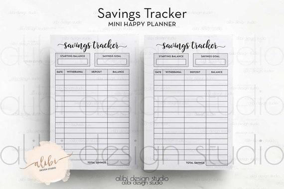 savings tracker mini happy planner saving planner budget etsy