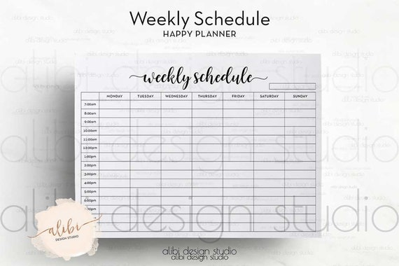 weekly planner by hour