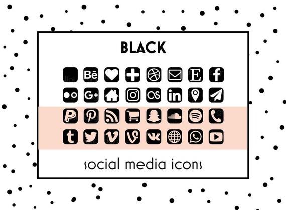 Social Media Icons Black Button