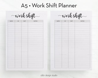 Work Shift, A5 Planner Inserts, Work Planner, Printable Planner, Work Tracker, A5 Inserts, Work Schedule, Daily Planner, Work Printable