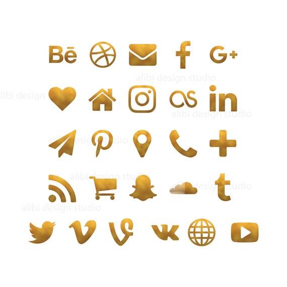 Social Media Icons Gold Foil Buttons Website
