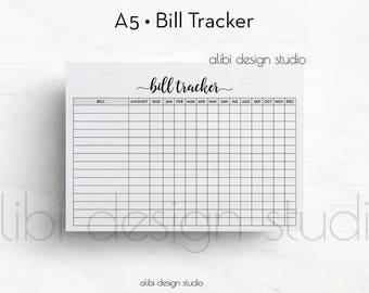 Bill Tracker, A5 Planner Insert, Planner Printable, Bill Insert, Finance Planner, A5 Insert, Bills Calendar, Monthly Tracker, Bill Organizer