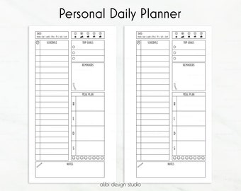 Daily Planner, Personal Planner, To Do List, Personal Inserts, Daily Schedule, Meal Planner, Undated Planner, Personal Printable Planner