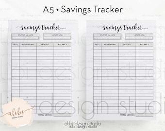 Savings Tracker, A5 Planner Inserts, Saving Planner, Budget Planner, Goal Tracker, Financial Planner, Budget Printable, A5 Printable Planner