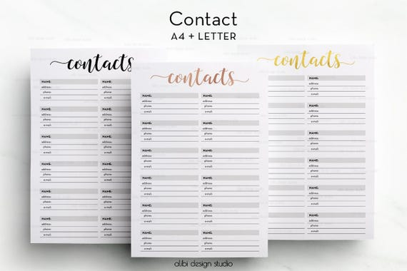 a4 printable address book contacts printable contacts page etsy