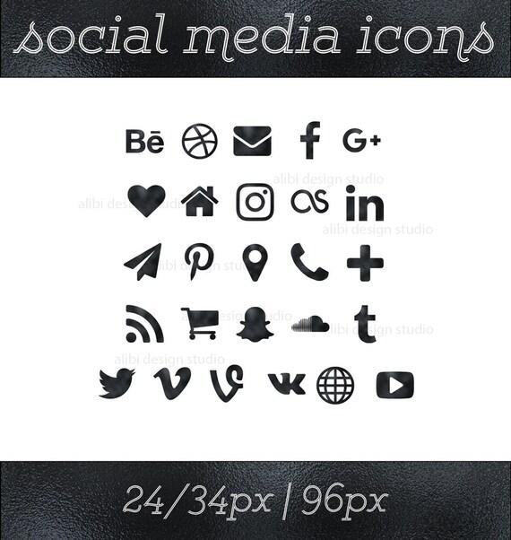 Social Media Icons Black Foil Button