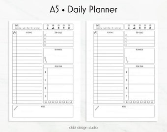Daily Planner, A5 Planner Inserts, Daily Schedule, To Do List, Printable Planner, Daily Organizer, Weekly Planner, Hourly Planner