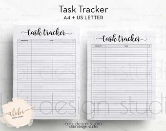 Task Tracker, Task Log, Task Printable, A4, Letter, Goal tracker  Habit Tracker, Task Journal, A4 Binder, Project Planner, Organizer