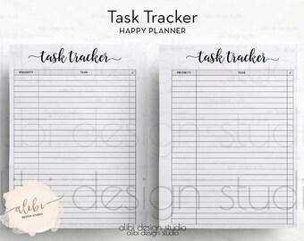 Task Tracker, Happy Planner, Task Log, Printable Planner, MAMBI, Goal tracker, Habit Tracker, Work Planner, Project Planner, Goal Planner