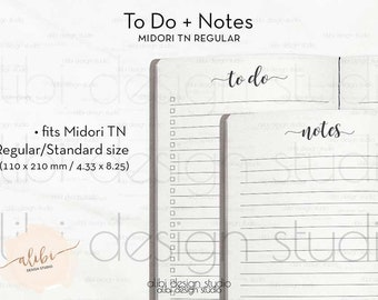 Standard TN, To Do List, Midori Standard, Notes, Travelers Notebook, Traveler's Notebook Standard, TN Inserts, Midori, Bullet Journal