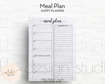 Meal Planner, Happy Planner, Meal planning, Weekly Meal Planner, Printable Planner, MAMBI, Meal Tracker, MAMBI Inserts, Shopping List, To Do