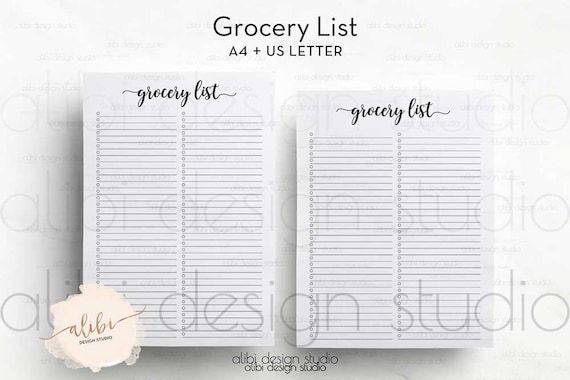 grocery list a4 printable shopping tracker shopping list etsy