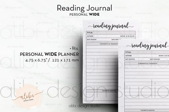 personal wide reading journal book planner reading list etsy