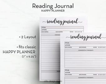 Reading Journal, Happy Planner, Books Printable, Reading Log, Reading List,  Planner Printable, Book Planner, MAMBI, Reading Tracker