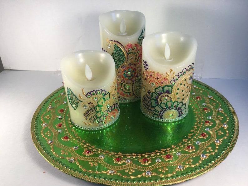 Led Flameless Henna Candle Set Decorative CandlesHandpainted
