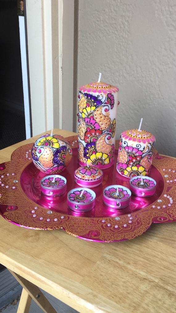 Henna Candle Set Henna Candles With Charger Plate Wedding Etsy