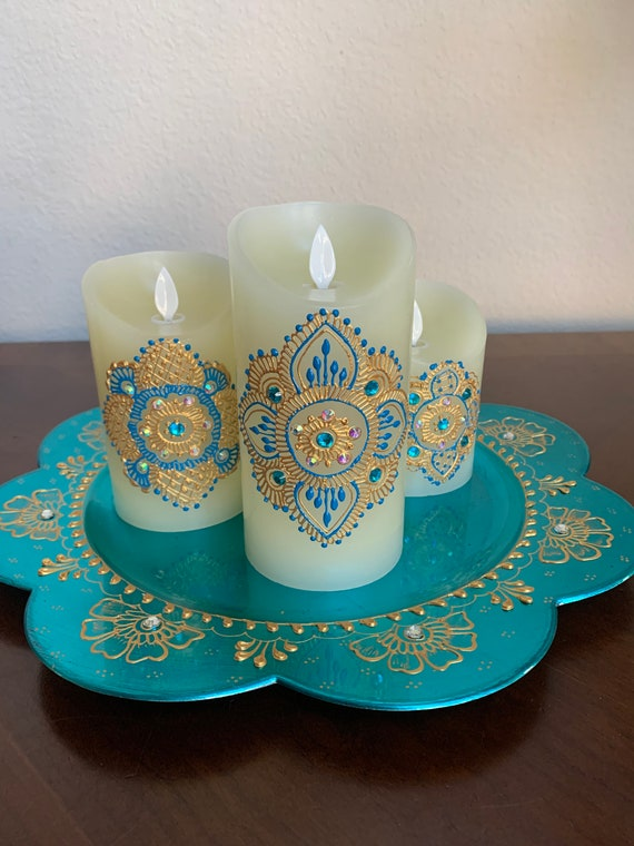 Mini colorful henna candles set of 5