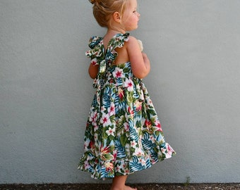 Girls dress beach sun tropical hawaiian
