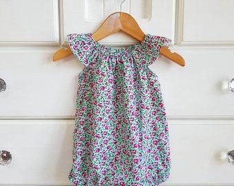 cb6c63a7ab7 Baby girl playsuit    flutter sleeve    romper    vintage    rose    floral     baby gift    baby shower