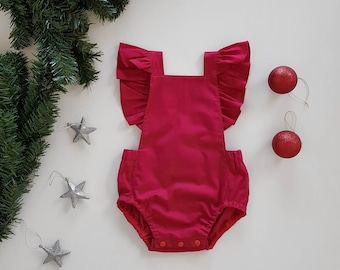 Baby girls Christmas romper // playsuit // ruffle wing // tie back // red // baby gift //