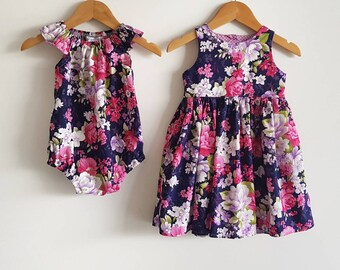 Sisters matching outfits // girls // playsuit // dress // romper // navy // pink // purple // floral // special occasion