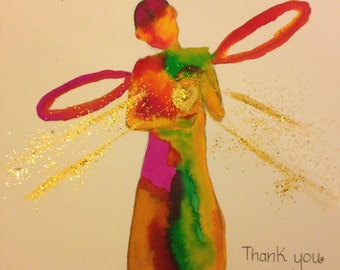 Thank you Angel, Angel painting, Original painting, Thank you gift, Gratitude gift, Angel with golden heart.