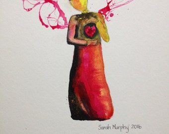 Angel of the Heart, Healing Angel, Original painting, Friendship gift, Red and black angel