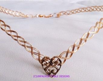 Celtic Knot Gold Heart Circlet Crown adjustable weddings handfasting ren larp sca