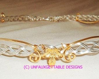 Celtic Elven Leaves Silver & Gold metal circlet crown adjustable larp ren sca
