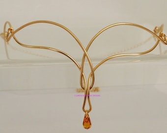 Celtic Elven Gold Circlet with Topaz Austrian Crystal adjustable to fit any size handfasting wedding ren