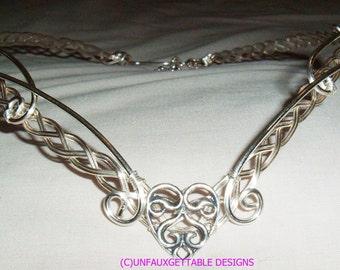 Celtic Princess Romantic Heart Circlet Crown adjustable wedding handfasting larp ren