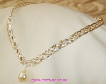 Silver Celtic Elven pointed Circlet Crown with pearl - adjustable to fit any size- larp ren sca